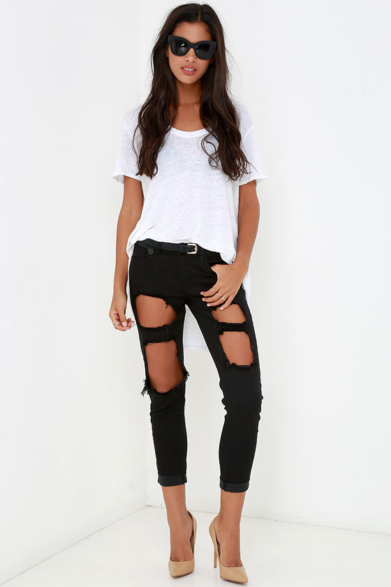 Boyfriend Jeans - Black Pants - Destroyed Jeans - $62.00