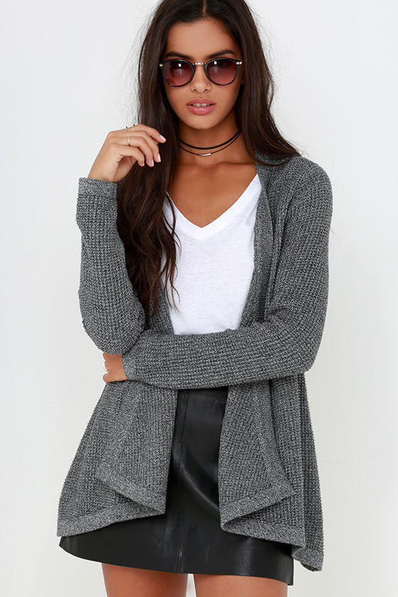 Rhythm Twilight - Grey Cardigan Sweater - Open Front Cardigan - $86.00