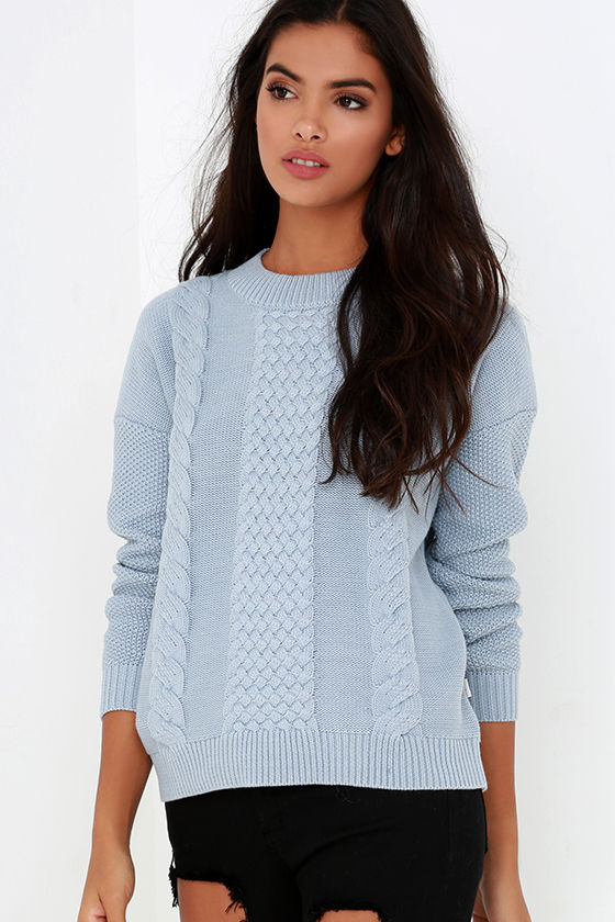 Rhythm Fleetwood - Light Blue Sweater - Cable Knit Sweater - $76.00