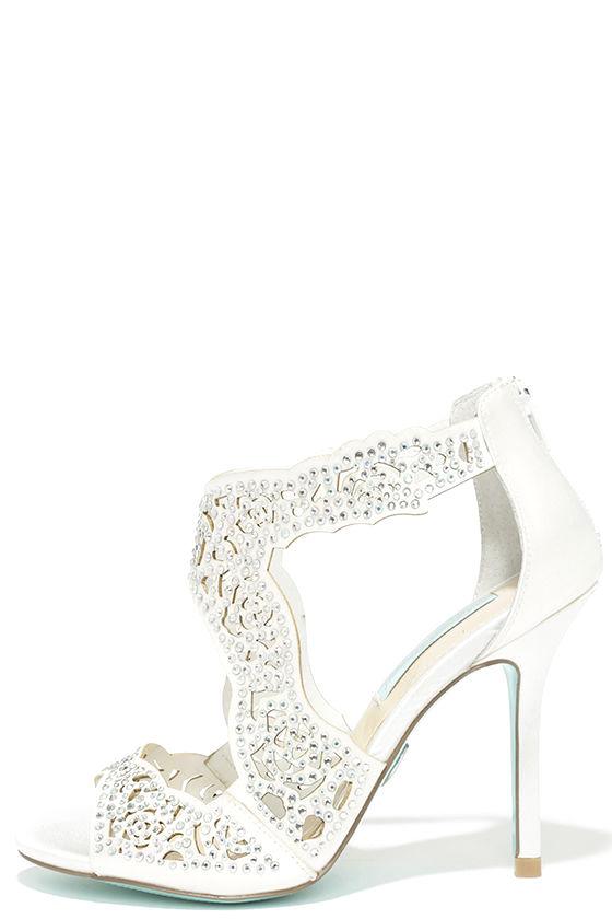 1c5129f9b Pretty Ivory Heels - Satin Heels - Rhinestone Heels - Dress Sandals -   139.00