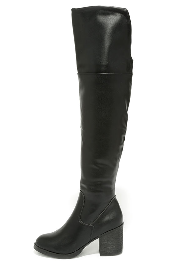 Cute Black Boots - Over the Knee Boots - OTK - $49.00