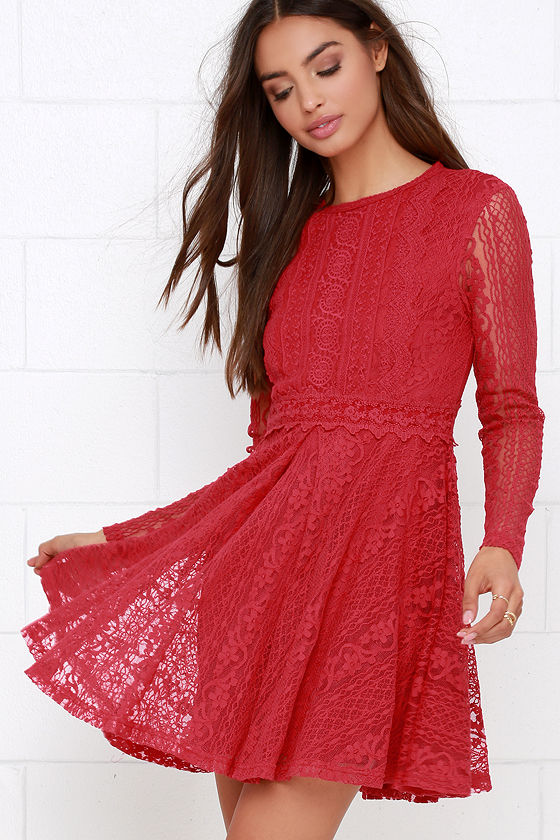 Pretty Red Dress - Lace Dress - Long Sleeve Dress - $54.00