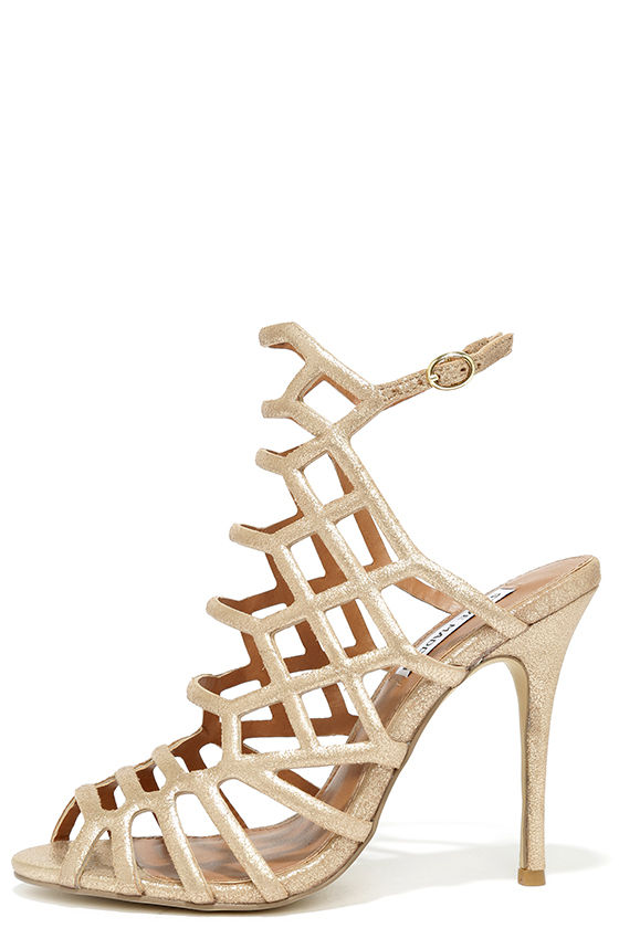 Steve Madden Slithur Gold Leather Caged Heels