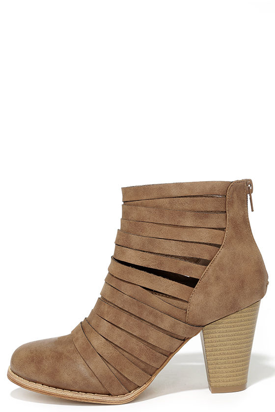 d1e0c0b71b3 Cute Brown Boots - Strappy Boots - Ankle Boots - Booties -  42.00