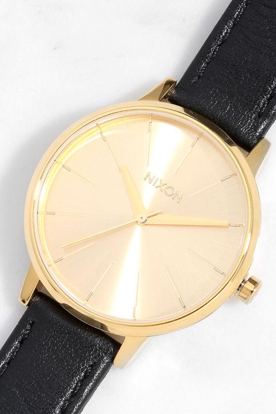 Nixon Kensington Leather Gold Watch 1