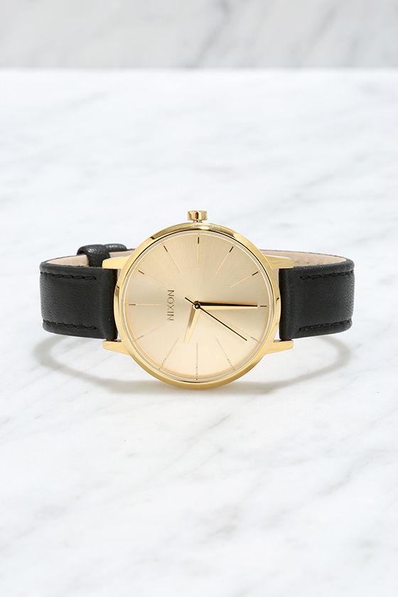 Nixon Kensington Leather Gold Watch 3