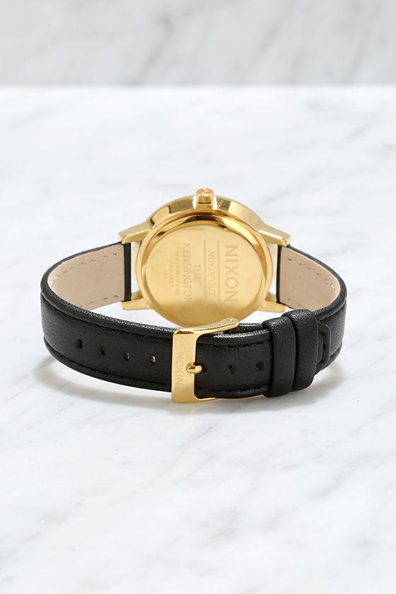 Nixon Kensington Leather Gold Watch 4