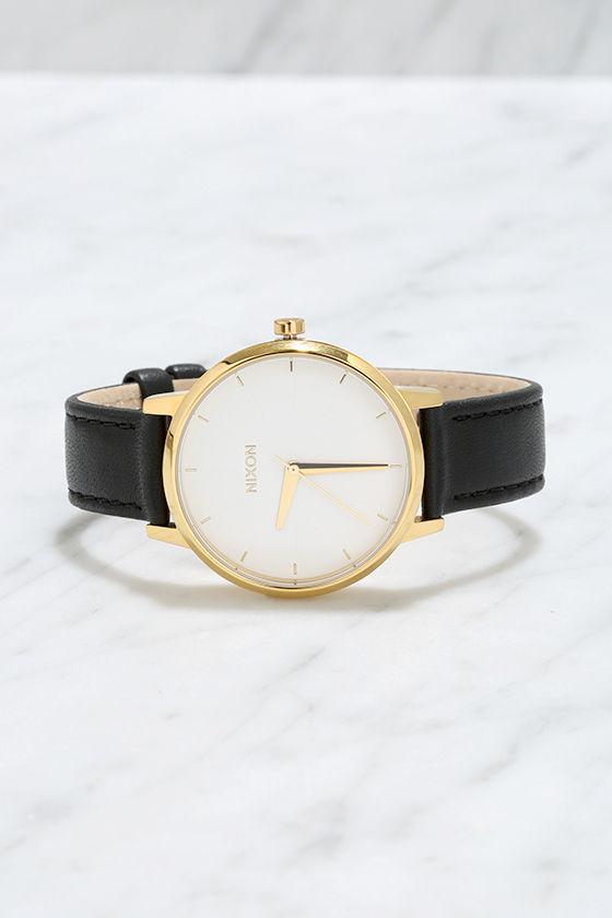 Nixon Kensington Leather Gold, White and Black Watch 3