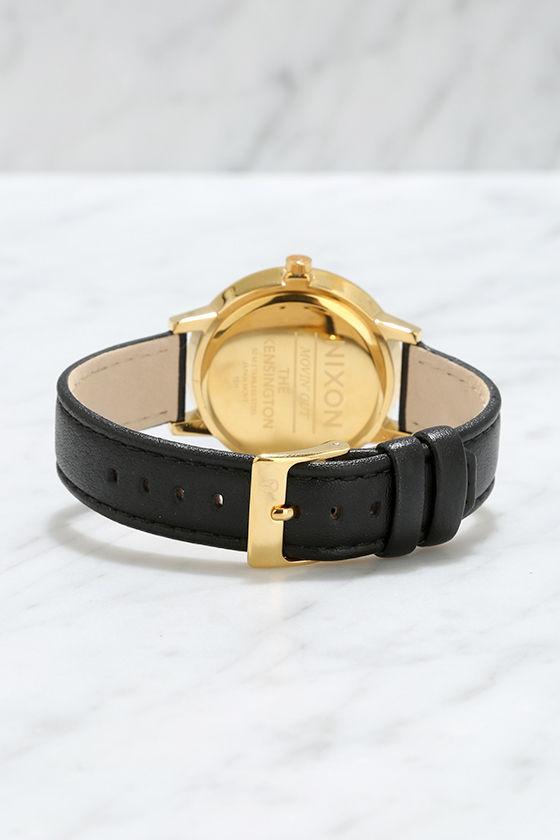 Nixon Kensington Leather Gold, White and Black Watch 4