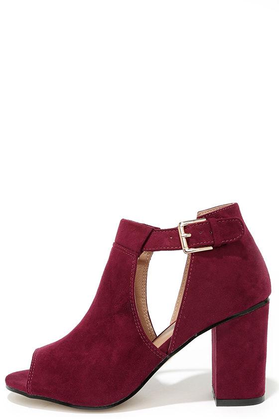 Cute Burgundy Booties Cutout Booties Block Heel