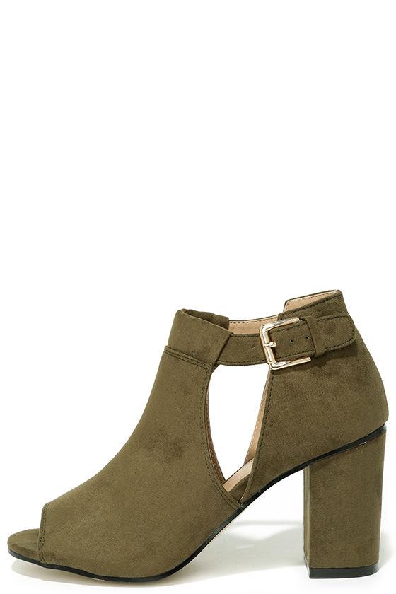 Cute Olive Green Booties - Cutout Booties - Block Heel Booties -  45.00 efda33bbc