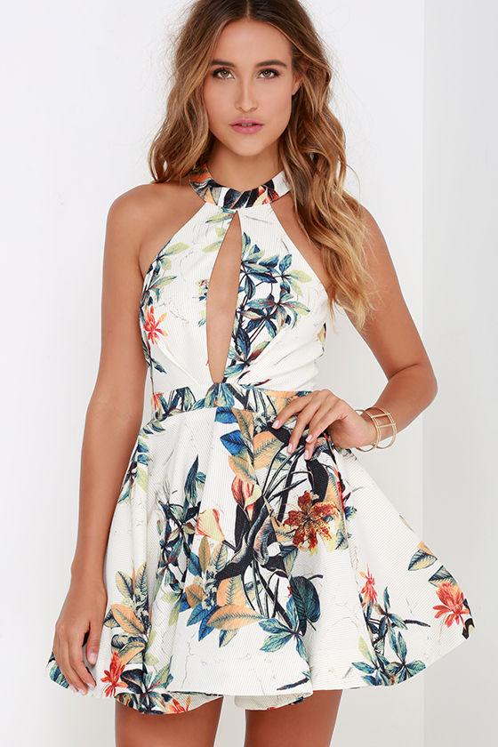 Ivory Floral Print Dress - Skater Dress - $62.00