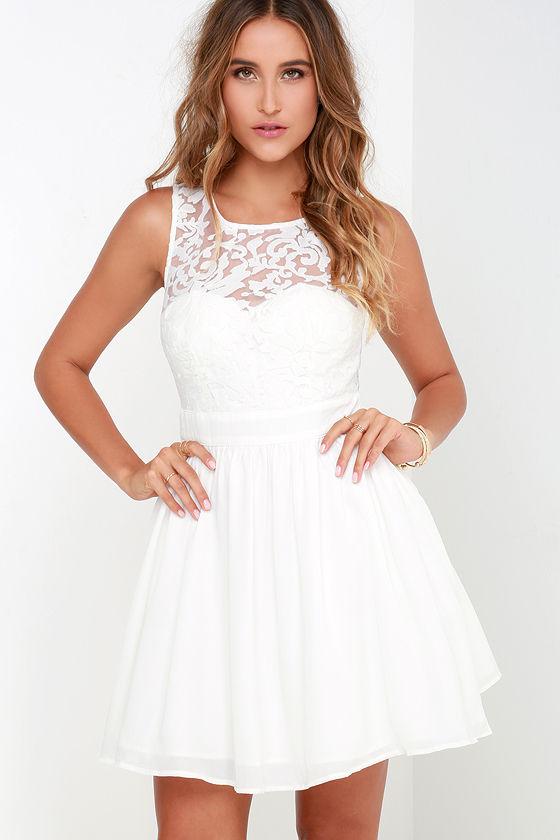 Ivory Dress - Skater Dress - White Dress - Lace Dress - $54.00