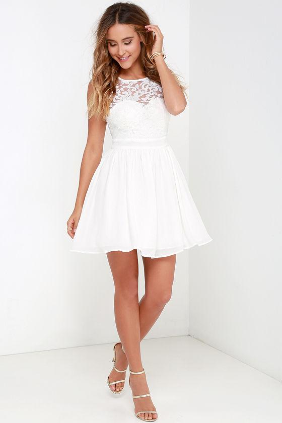 fcbc2c742 Ivory Dress - Skater Dress - White Dress - Lace Dress -  54.00