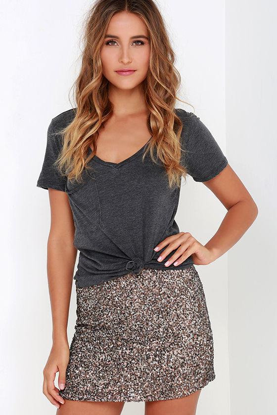 Billabong Showin' Off Skirt - Bronze Skirt - Sequin Skirt - $99.95