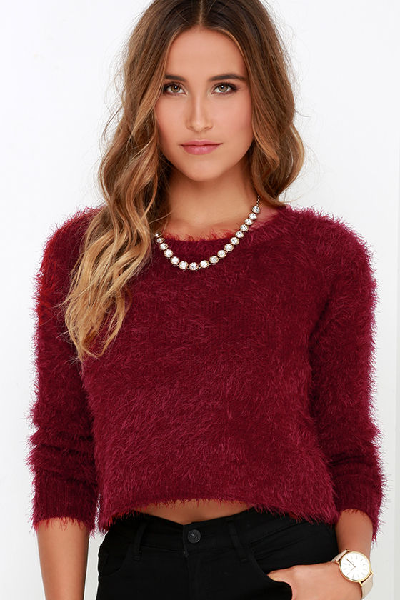 Cute Wine Red Sweater - Fuzzy Sweater - Cropped Sweater - $59.95
