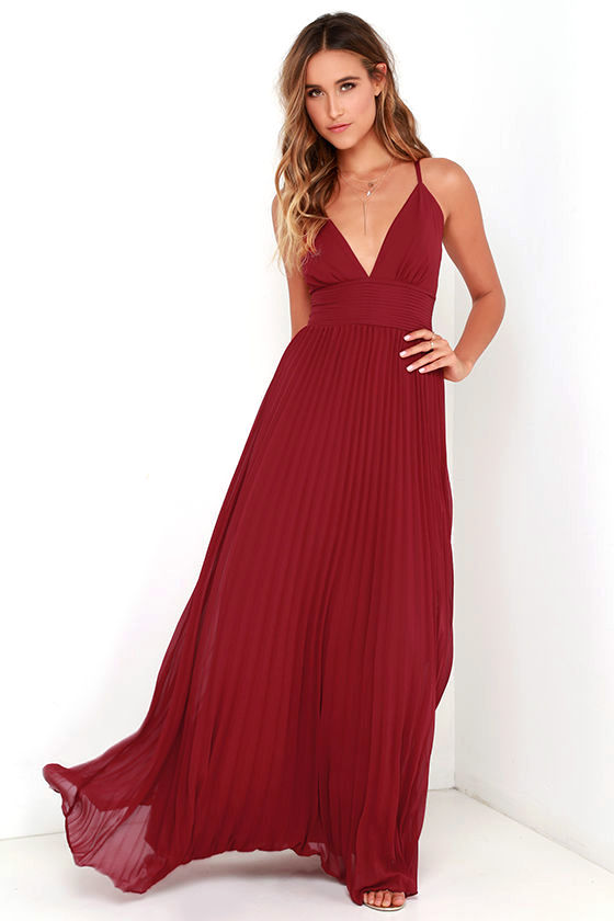 7e1e19ad83c1 Stunning Wine Red Dress - Pleated Maxi Dress - Red Gown - $78.00