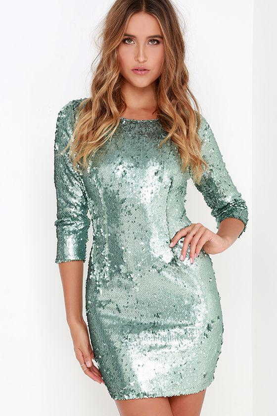 Stunning Aqua Blue Dress - Sequin Dress - Bodycon Dress - $78.00