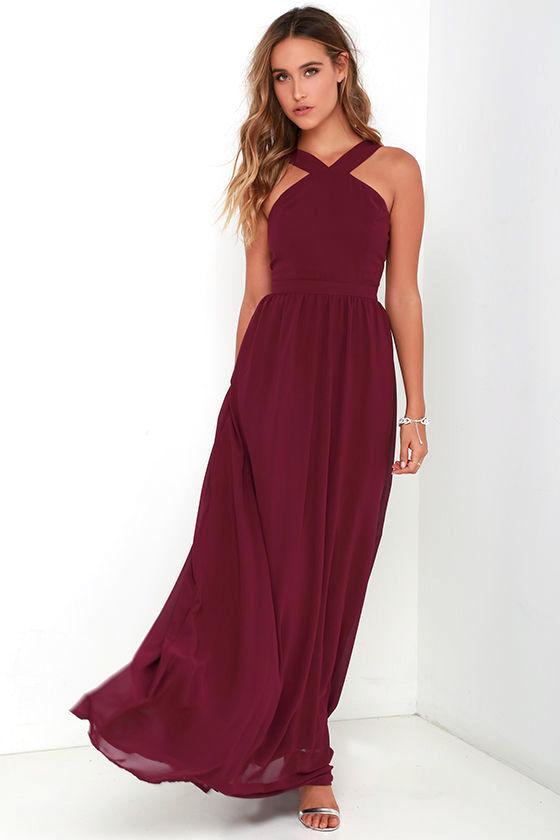 Air of Romance Burgundy Maxi Dress 1