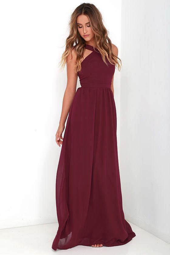 Beautiful Burgundy Dress Maxi Dress Halter Dress 68 00