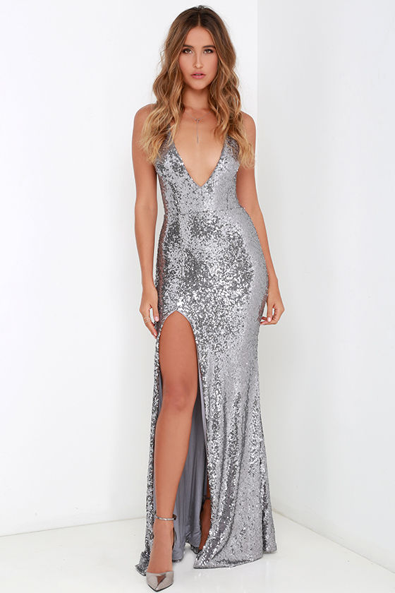 Sexy Sequin Dress - Maxi Dress - Backless Dress - Silver Dress ...