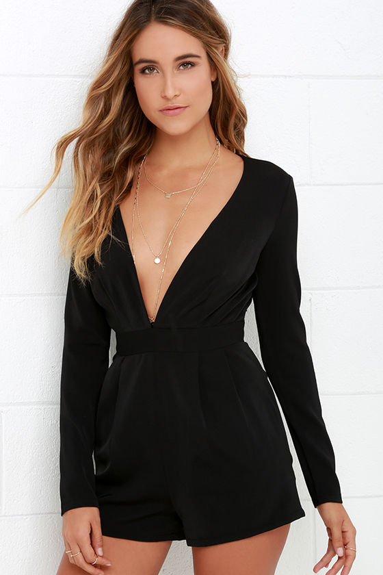 2292a43e0132 Sexy Long Sleeve Romper - Black Romper - V Neck Romper -  58.00