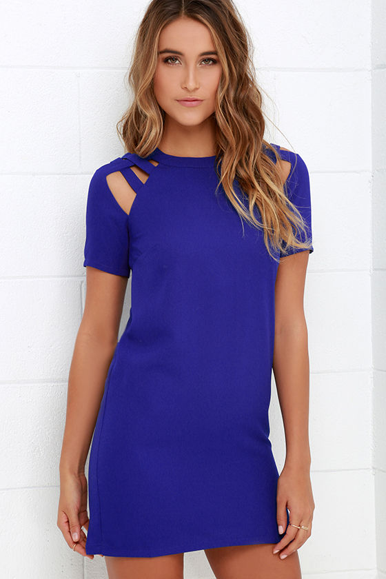 39b46131f4 Shoulder Shrug Royal Blue Shift Dress
