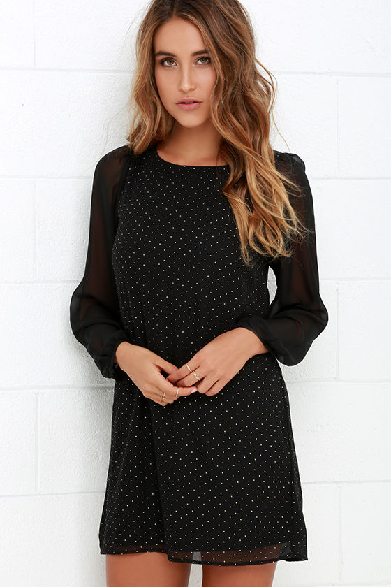 Long Sleeve Dress Dotted Dress Gold And Black Dress Shift