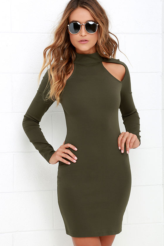 Chic Olive Green Dress - Bodycon Dress - Long Sleeve Dress - $42.00