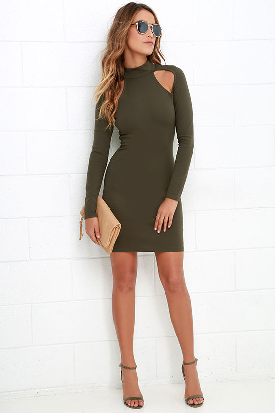21e5f2a90180 Chic Olive Green Dress - Bodycon Dress - Long Sleeve Dress -  42.00