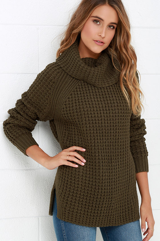 Cozy Olive Green Sweater - Waffle Knit Sweater - Cowl Neck Sweater ...