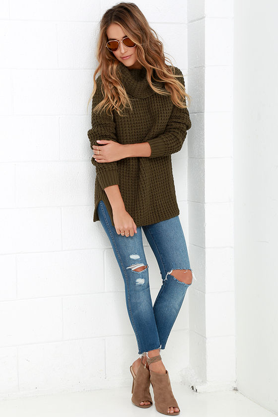 45f19db69189 Cozy Olive Green Sweater - Waffle Knit Sweater - Cowl Neck Sweater ...