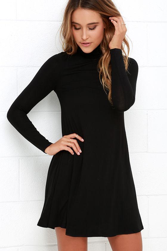Chic Black Dress - Swing Dress - Long Sleeve Dress - $38.00