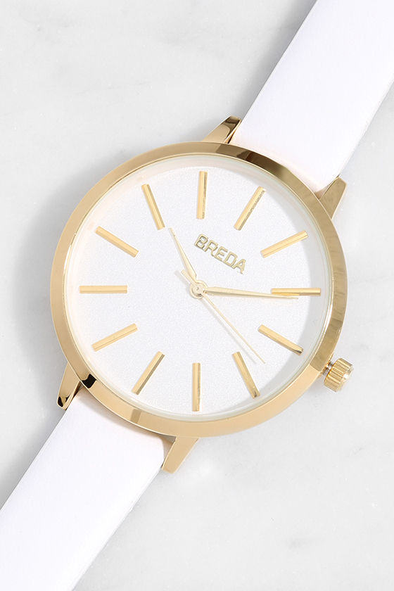 Breda Joule White Leather Watch 1