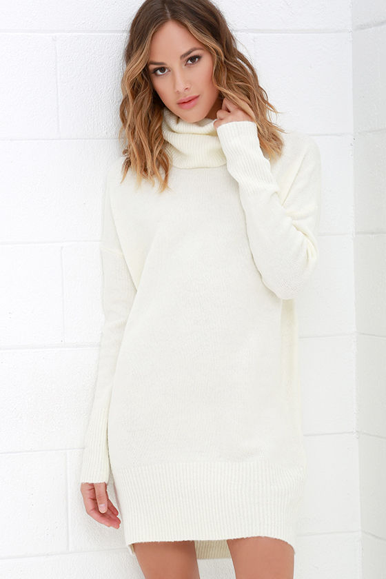 Cream Dress - Sweater Dress - Long Sleeve Dress - $65.00