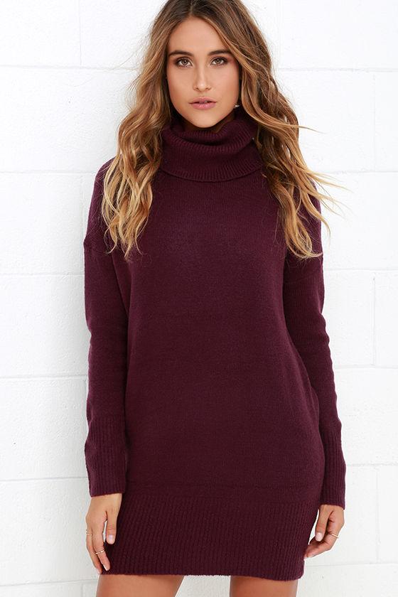 Plum Purple Dress - Sweater Dress - Long Sleeve Dress - $65.00