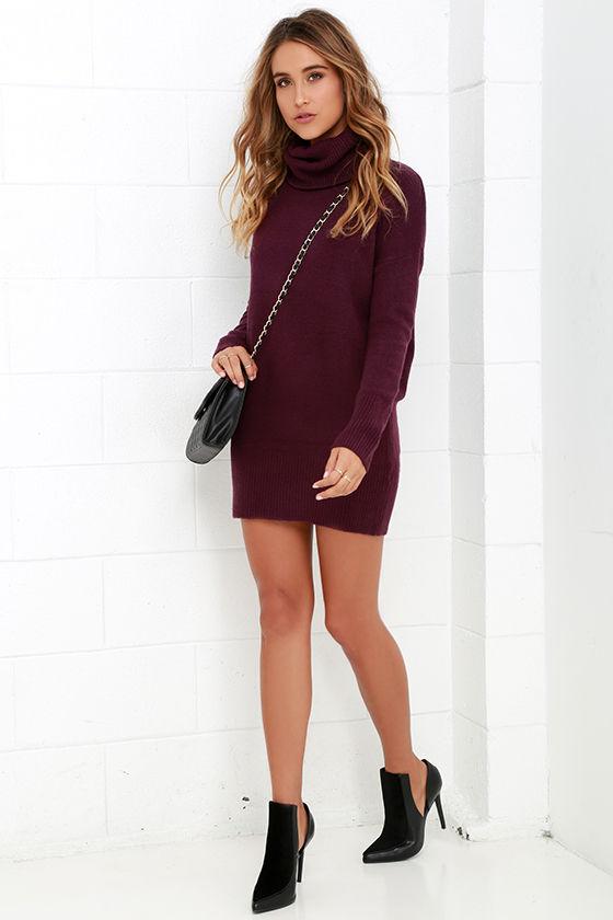 9e7efaedbd89 Plum Purple Dress - Sweater Dress - Long Sleeve Dress -  65.00