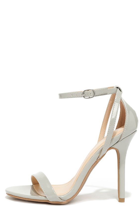 Cute Light Grey Heels - Ankle Strap Heels - $22.00