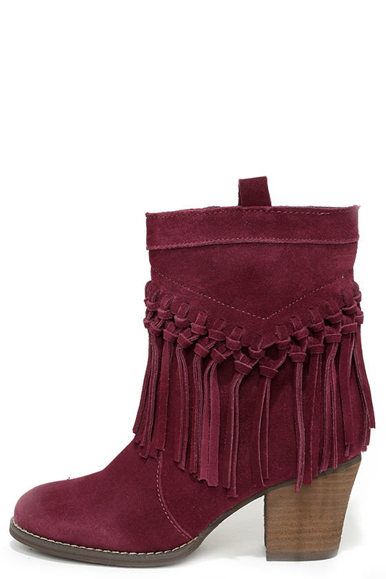 Cute Suede Boots - Fringe Boots - Booties - Red Boots - $114.00