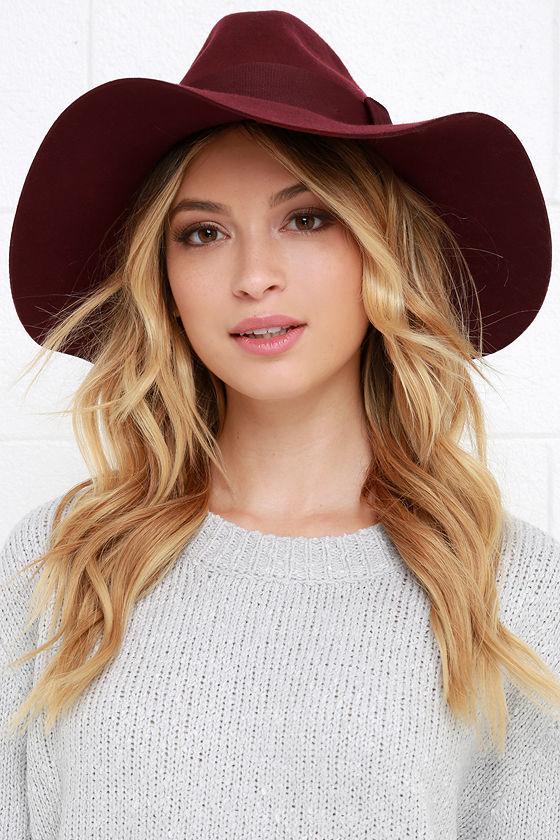 9bd6a6c688048 Brixton Piper - Burgundy Hat - Wool Hat - Fedora Hat -  58.00