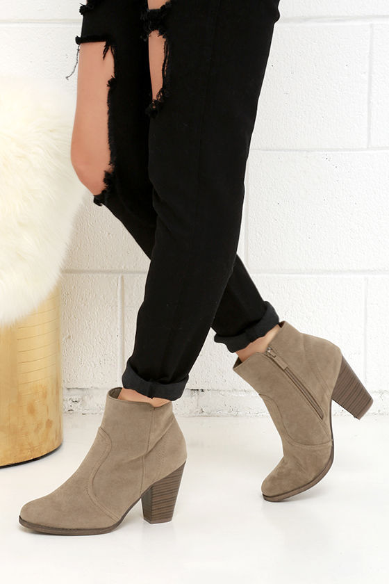 Cute Beige Boots - Suede Boots - Ankle Boots - Booties - $34.00