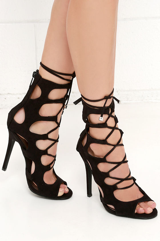 Cute Caged Heels - Lace-Up Heels - Black Shoes - $39.00