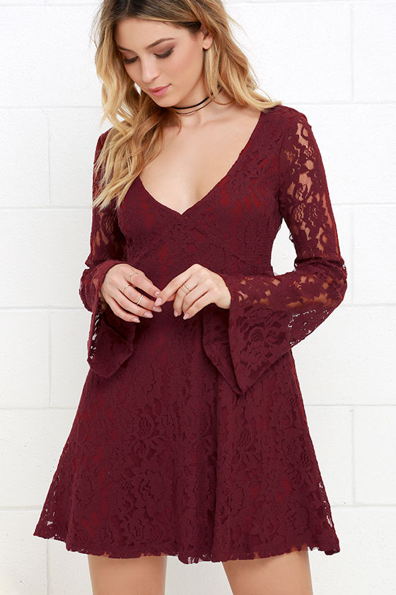 Cute Wine Red Dress - Lace Dress - Bell Sleeve Dress - Long Sleeve ...