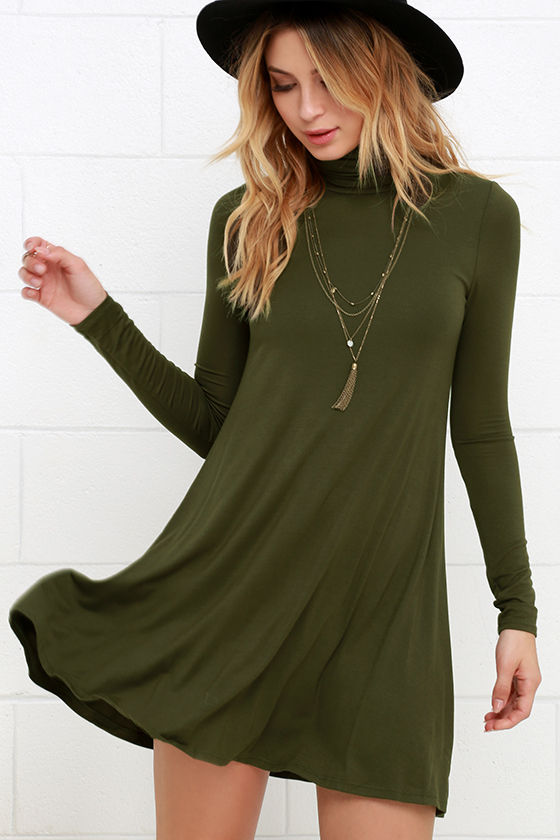 Chic Olive Green Dress - Swing Dress - Long Sleeve Dress - $38.00