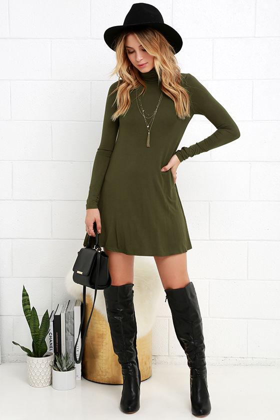 chic olive green dress swing dress sleeve dress