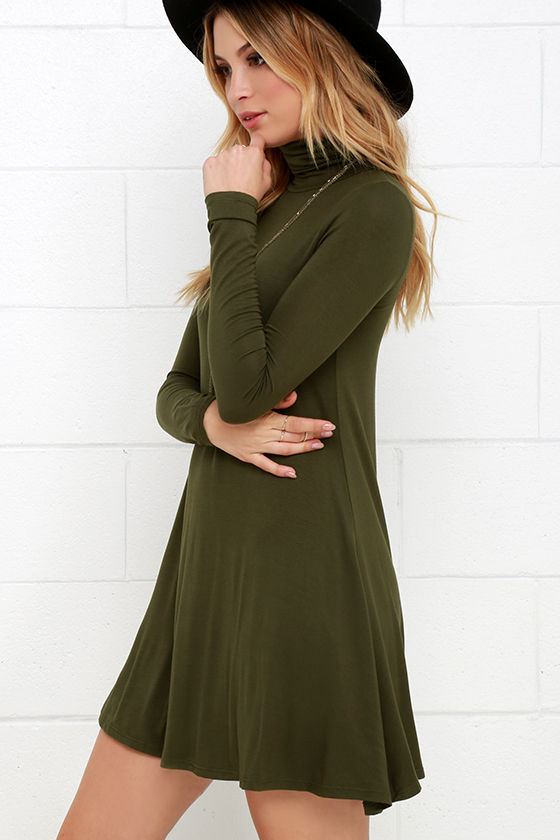 Sway, Girl, Sway! Olive Green Swing Dress 3