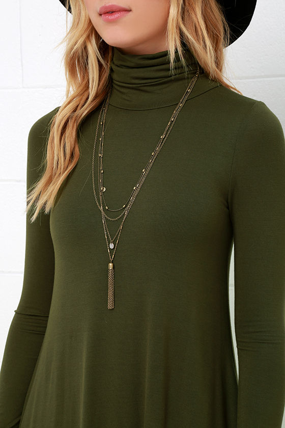 Sway, Girl, Sway! Olive Green Swing Dress 5