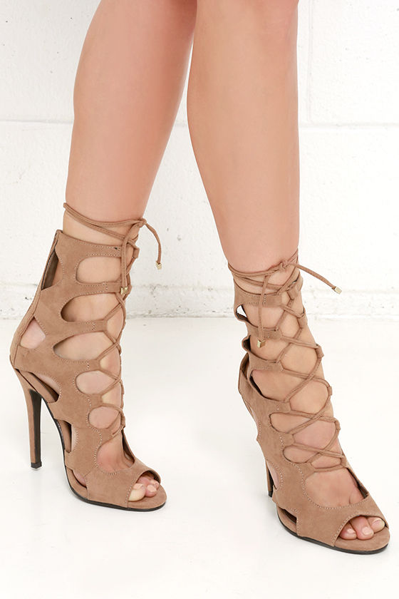 9059f9de6684 Cute Caged Heels - Lace-Up Heels - Nude Shoes -  39.00
