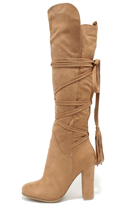 c798be5cfc72 Cute Camel Boots - Knee High Boots - High Heel Boots -  49.00