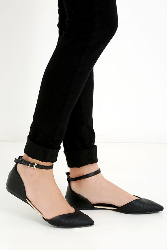 331e70846 Cute Black Flats - Ankle Strap Flats - Pointed Flats - $20.00